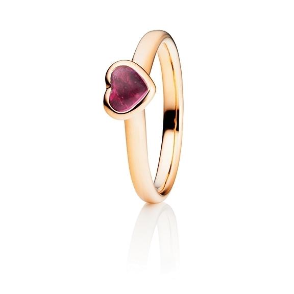 "Ring ""Pure Love"" 750RG Herz, Turmalin pink Cabochon 5.6 x 4.8 mm ca. 0.50ct"