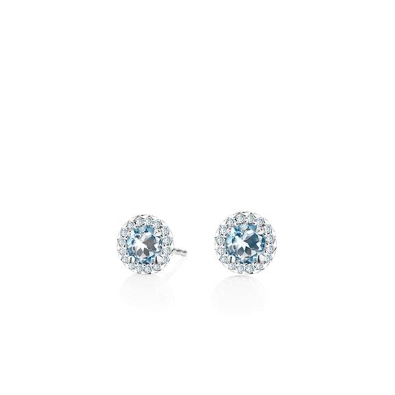 "Ohrstecker ""Espressivo"" 750WG Topas skyblue facettiert Ø 4.0 mm ca. 0.50ct, 32 Diamanten Brillant-Schliff 0.08ct TW/si1"