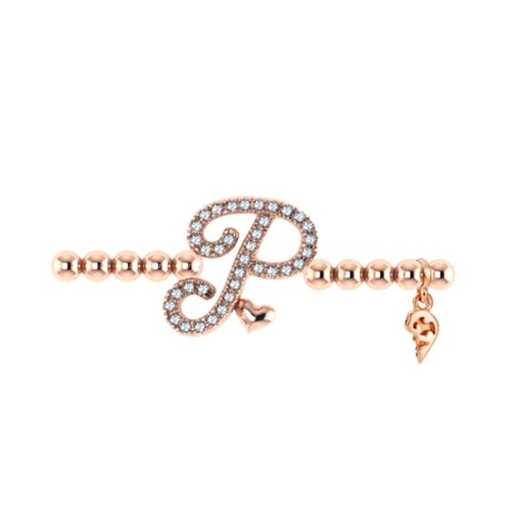 "Armband ""Poesia"" 750RG, Buchstabe ""P"", 36 Diamanten Brillant-Schliff 0.14ct TW/vs1, Innenumfang 17.0 cm"