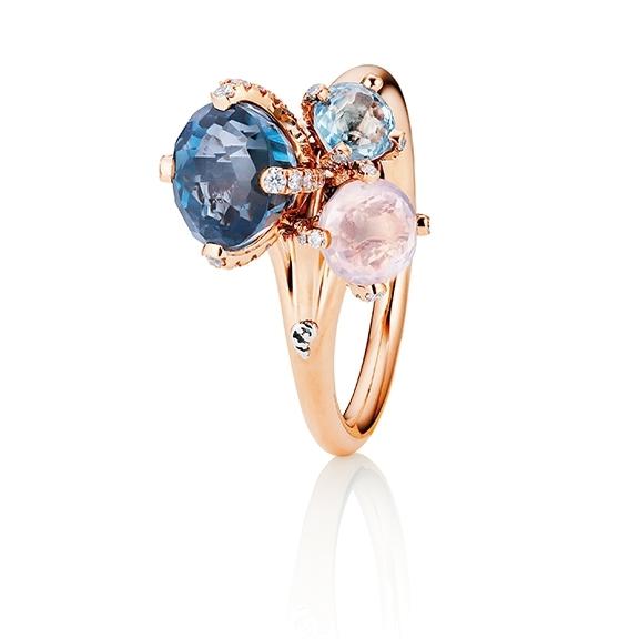 """Ring """"Capriccio"""" 750RG, Topas London blue facettiert, Rosenquarz facettiert, Topas sky blue facettiert, 61 Diamanten Brillant-Schliff 0.22ct TW/vs"""