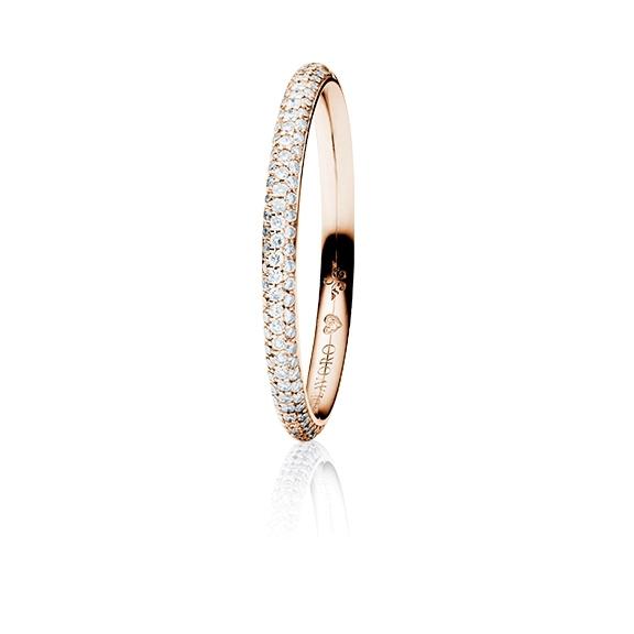 """Ring """"Diamante in Amore"""" 750RG Pavé, 106 Diamanten Brillant-Schliff 0.20ct TW/vs1, 1 Diamant Brillant-Schliff 0.005ct TW/vs1"""