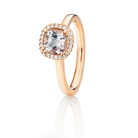 "Ring ""Espressivo"" 750RG, Morganit antik 6.0 x 6.0 mm ca. 0.90ct, 24 Diamanten Brillant-Schliff 0.07ct TW/si"