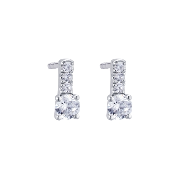"Ohrstecker ""Romantic"" 750WG 4-er Krappe, 8 Diamanten Brillant-Schliff 0.20ct TW/vs1"