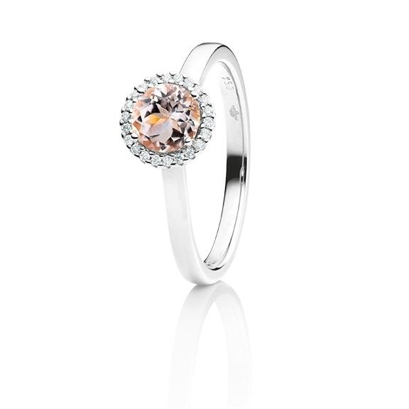 """Ring """"Espressivo"""" 750WG, Morganit facettiert Ø 6.0 mm ca. 0.85ct, 22 Diamanten Brillant-Schliff 0.06ct TW/si1"""