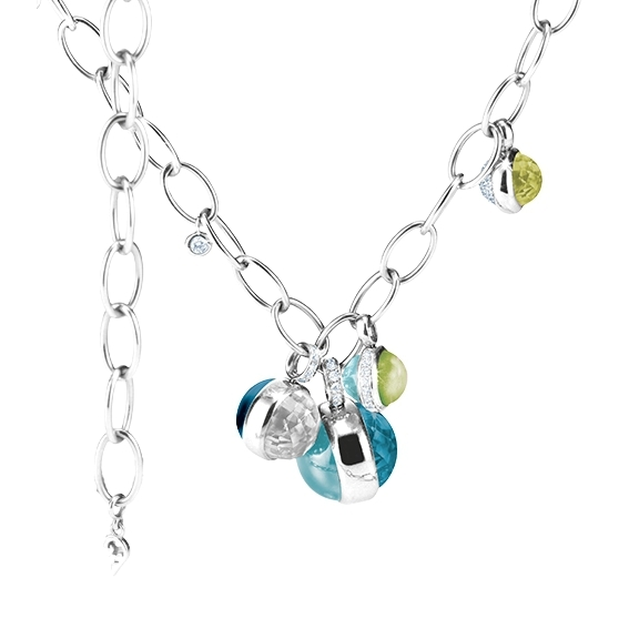 "Collier ""Velluto Highlight"" 750WG, 2 Topas sky blue Cab., 2 Topas London blue Cab., 1 Topas weiss Cab., 2 Peridot Cab., 61 Diamanten  0.47ct TW/vs1, 7 Diamanten 0.13ct iceblue, Längeca. 43.5 cm"