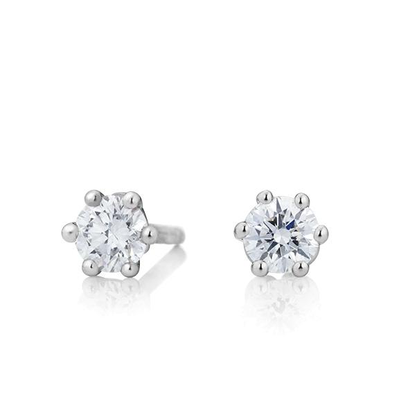 "Ohrstecker ""Diamante in Amore"" 750WG 6-er Krappe, 2 Diamanten Brillant-Schliff 0.75ct TW/vs1"