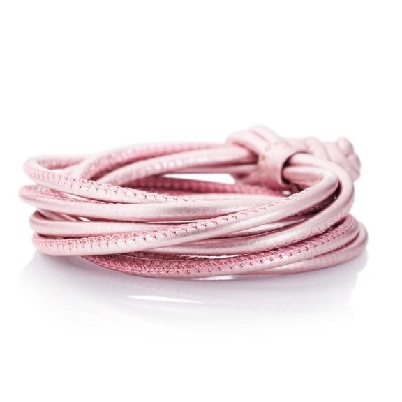 Armband, Kalbsleder rosa metallic 4-reihig Ø 3.0 mm, 42 cm