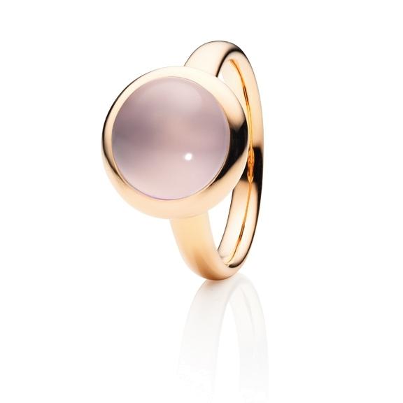 """Ring """"Velluto"""" 750RG, Rosenquarz klar Cabochon Ø 11.0 mm ca. 3,9ct"""