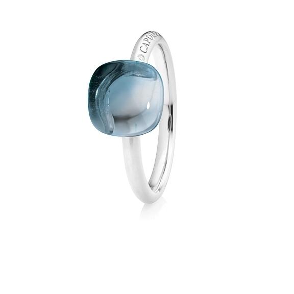 "Ring ""Happy Holi"" 750WG, Topas sky blue Cabochon  9.0 x 9.0 mm ca. 5.40ct, 1 Diamant Brillant-Schliff 0.004ct TW/vs1"