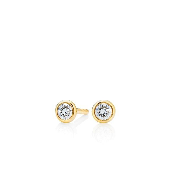 """Ohrstecker """"Classico"""" 750GG Zargenfassung, 2 Diamanten Brillant-Schliff 0.20ct TW/si"""
