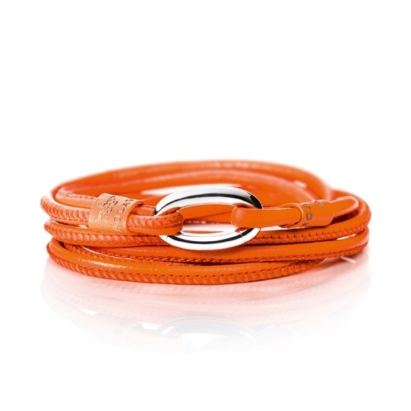 Armband Kalbsleder orange 2-reihig, Ø 3.0 mm, 56.0 cm