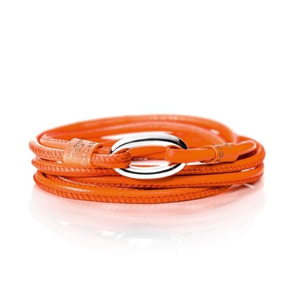 Armband Kalbsleder orange 2-reihig, Ø 3.0 mm, 56.0 cm