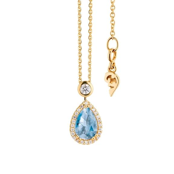 """Collier """"Espressivo"""" 750GG Topas sky blue Tropfen 9.0 x 6.0 mm ca. 1.65ct, 26 Diamanten Brillant-Schliff 0.20ct TW/si, Länge 45.0 cm Zwischenöse bei 42.0 cm"""