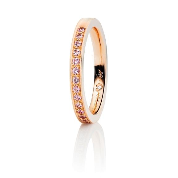 """Memoirering """"Diamante in Amore"""" 750RG Fadenfassung, 19 Saphir pink Pastell Light facettiert ca. 0.25ct, 1 Diamant Brillant-Schliff 0.005ct TW/vs1"""