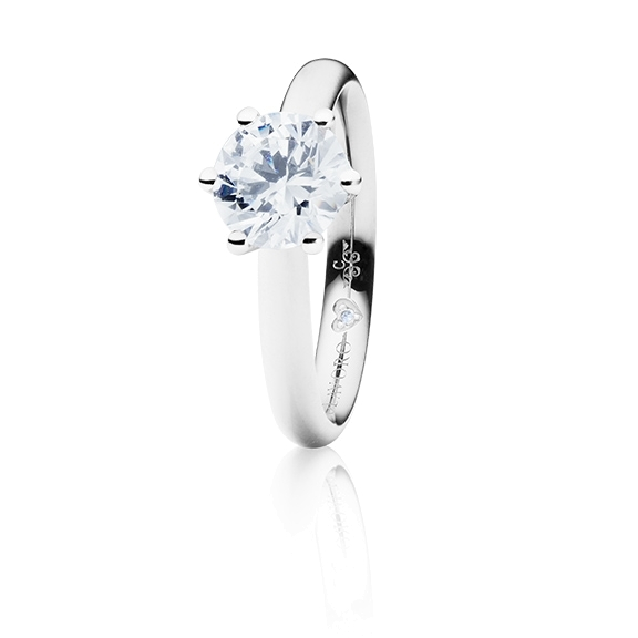 "Ring ""Diamante in Amore"" 750WG 6-er Krappe, 1 Diamant Brillant-Schliff 1.00ct TW/vs1 GIA Zertifikat, 1 Diamant Brillant-Schliff 0.005ct TW/vs1"