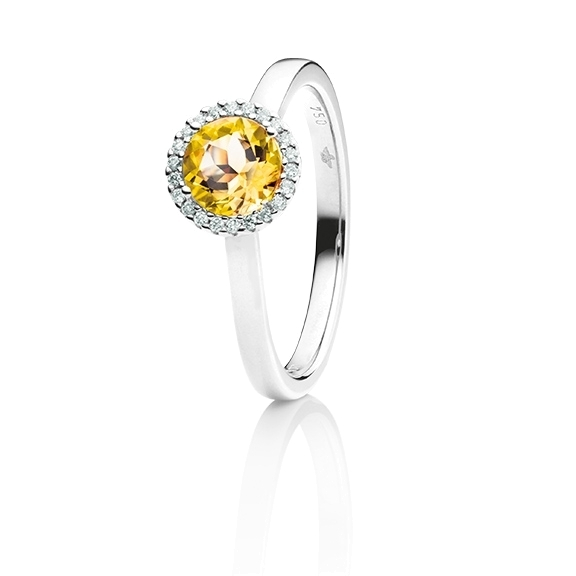 "Ring ""Espressivo"" 750WG, Citrin medium facettiert Ø 6.0 mm, 22 Diamanten Brillant-Schliff 0.06ct TW/si"