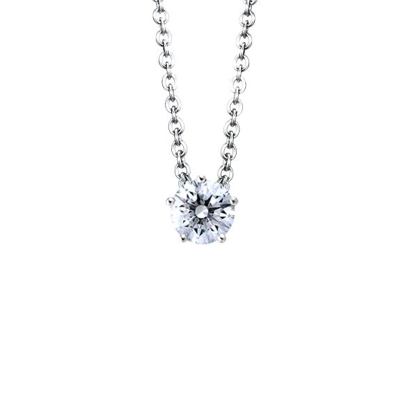 """Collier """"Diamante in Amore"""" 750WG 5-er Krappe, 1 Diamant Brillant-Schliff 0.25ct TW/vs1, Länge 45.0 cm, Zwischenöse bei 42.0 cm"""