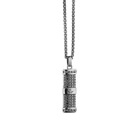 """Anhänger """"Rocks"""" 750WG, 60 Diamanten Brillant-Schliff 0.95ct schwarz behandelt"""
