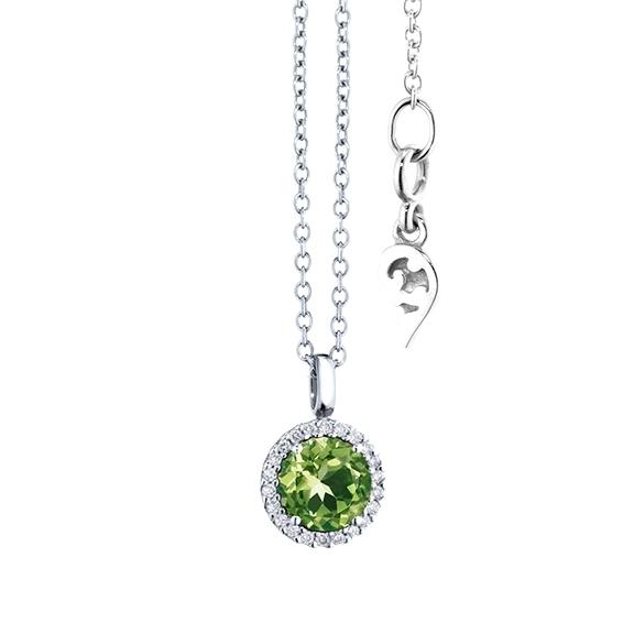 "Anhänger ""Espressivo"" 750WG, Peridot facettiert Ø 6.0 mm, 22 Diamanten Brillant-Schliff 0.06ct TW/si"