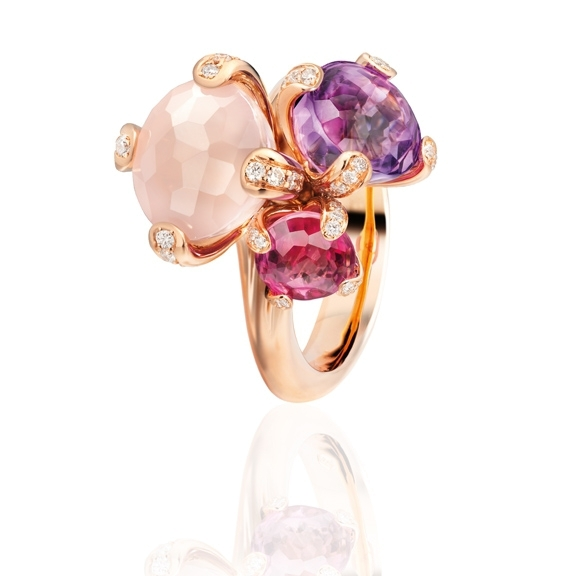 "Ring ""Capriccio"" 750RG, Rosenquarz ca. 3.50ct, Amethyst ca. 2.0ct, pink Turmalin ca. 0.75ct, 52 Diamanten Brillant-Schliff 0.31ct TW/vs"