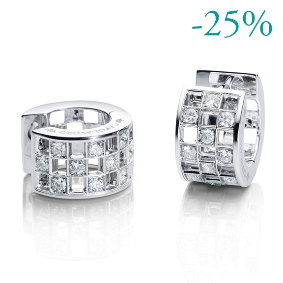 "Ohrcreole ""Piazza"" 750WG, 20 Diamanten Brillant-Schliff 0.49ct TW/si"