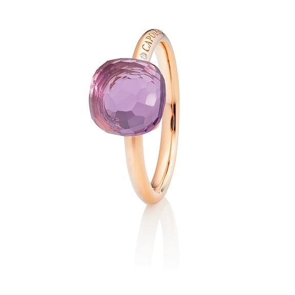 "Ring ""Happy Holi"" 750RG, Amethyst medium Cabochon  9.0 x 9.0 mm facettiert ca. 4.00ct, 1 Diamant Brillant-Schliff 0.004ct TW/vs1"