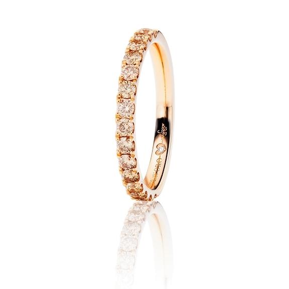 """Memoirering """"Diamante in Amore"""" 750RG, 15 Diamanten Brillant-Schliff 0.62ct natural light brown, 1 Diamant Brillant-Schliff 0.005ct TW/vs1"""