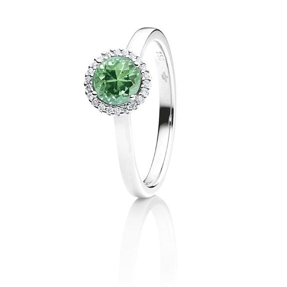 "Ring ""Espressivo"" 750WG, Turmalin grün facettiert Ø 6.0 mm ca. 0.69ct, 22 Diamanten Brillant-Schliff 0.06ct TW/si1"