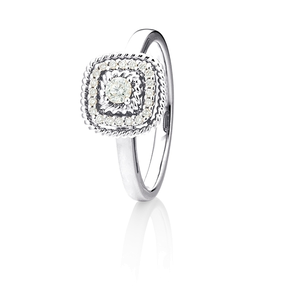 "Ring ""Amore mio"" 750WG, 21 Diamanten Brillant-Schliff 0.18ct TW/si"