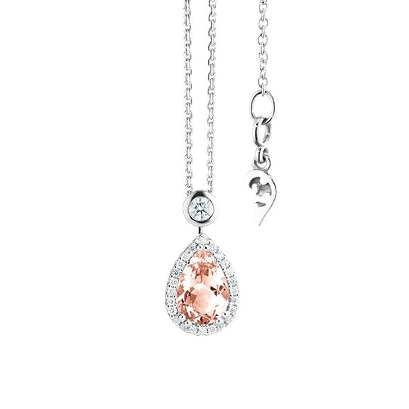 """Collier """"Espressivo"""" 750WG Morganit Tropfen 9.0 x 6.0 mm ca. 1.25ct, 26 Diamanten Brillant-Schliff 0.20ct TW/si, Länge 45.0 cm Zwischenöse bei 42.0 cm"""