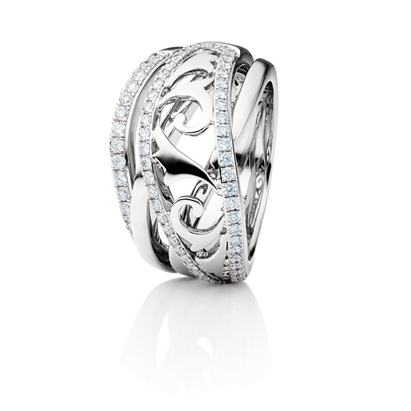 "Ring ""Sérail"" 750WG, 67 Diamanten Brillant-Schliff 0.63ct TW/vs"