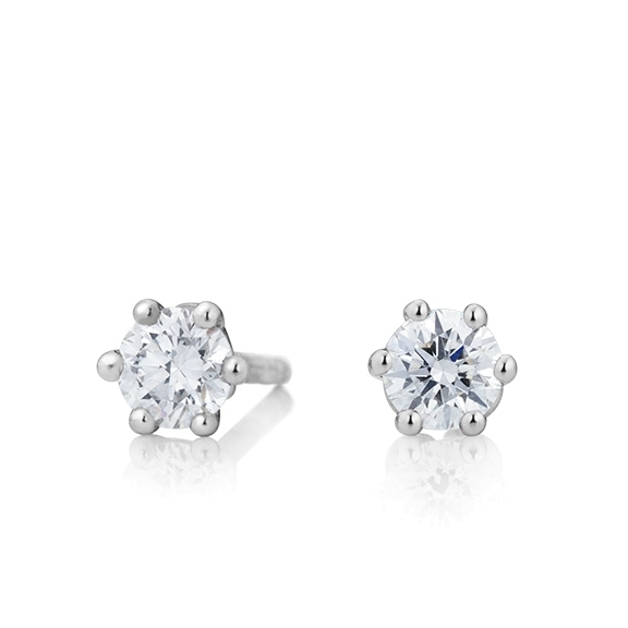 "Ohrstecker ""Diamante in Amore"" 750WG 6-er Krappe, 2 Diamanten Brillant-Schliff 0.6ct TW/vs1"
