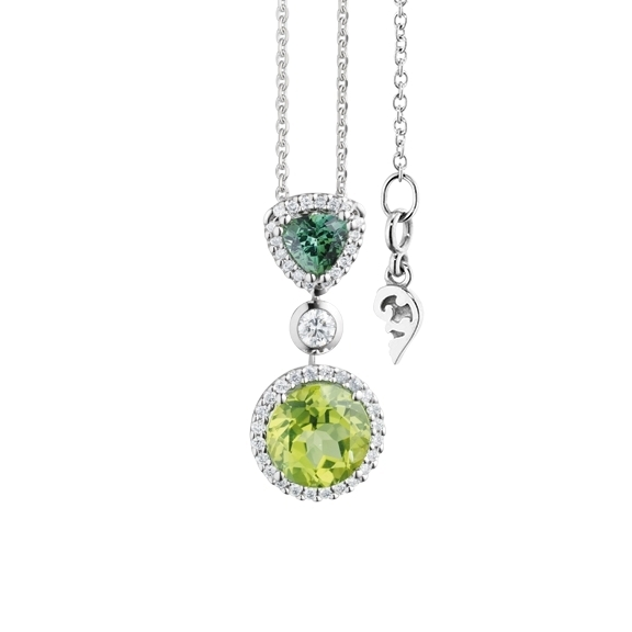 "Anhänger ""Espressivo"" 750WG, Peridot Ø 8.0 mm ca. 1.90ct, Turmalin grün Trillion 5.0 x 5.0 mm ca. 0.90ct, 35 Diamanten Brillant-Schliff 0.26ct TW/si"