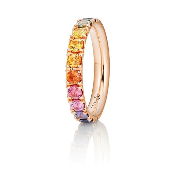 """Ring """"Rainbow"""" 750RG, 11 Saphire bunt facettiert ca. 1.50ct"""