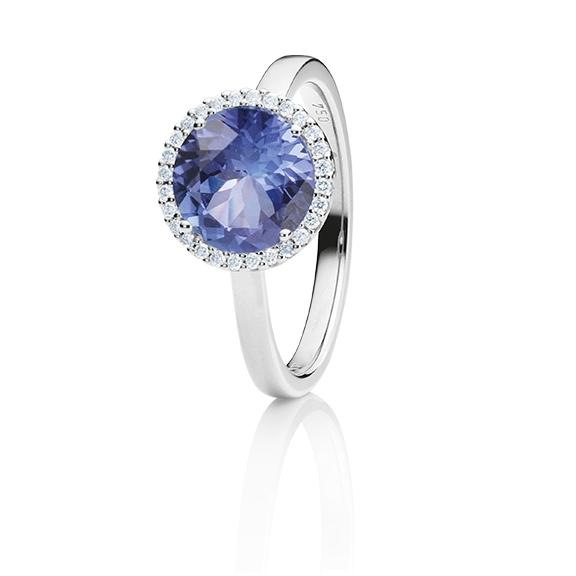 """Ring """"Espressivo"""" 750WG, Tansanit facettiert Ø 9.0 mm ca. 2.70ct, 28 Diamanten Brillant-Schliff 0.10ct TW/si"""