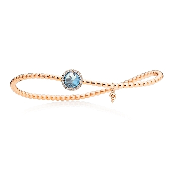 "Armband ""Espressivo"" 750RG, Topas sky blue facettiert Ø 6.0 mm ca. 0.90ct, 22 Diamanten Brillant-Schliff 0.06ct TW/si1, Innenumfang 17.0 cm"