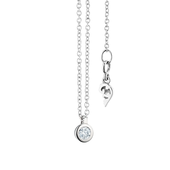 """Collier """"Diamante in Amore"""" 750WG Zargenfassung, Schlaufe, 1 Diamant Brillant-Schliff 0.10ct TW/vs1, Länge 45.0 cm, Zwischenöse bei 42.0 cm"""
