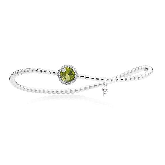 "Armband ""Espressivo"" 750WG, Peridot facettiert Ø 6.0 mm, 22 Diamanten Brillant-Schliff 0.08ct TW/si, Innenumfang 17.0 cm"