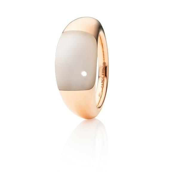 "Ring ""Serenade"" 750RG, Mondstein champagne Cabochon 15.0 x 9.0 mm ca. 7.5ct"