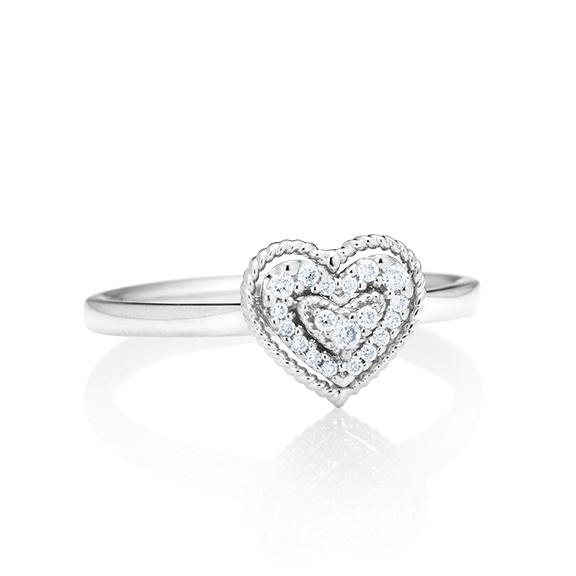 """Ring """"Valentine"""" 750WG 19 Diamanten Brillant-Schliff 0.09ct TW/si"""
