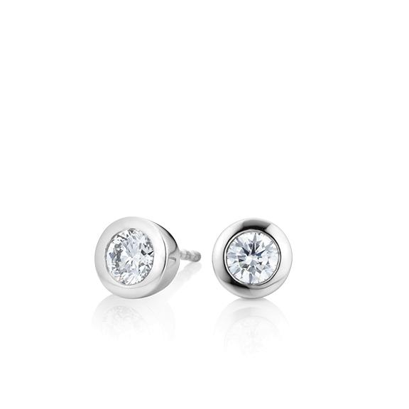 """Ohrstecker """"Diamante in Amore"""" 750WG Zargenfassung, 2 Diamanten Brillant-Schliff 0.50ct TW/vs1"""