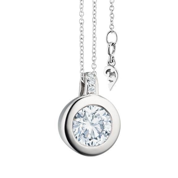 """Collier """"Diamante in Amore"""" 750WG Zargenfassung, Brillantöse, 1 Diamant Brillant-Schliff 1.00ct TW/vs1 GIA Zertifikat, 5 Diamanten Brillant-Schliff 0.03ct TW/vs1, Länge 45.0cm, Zwischenöse bei 42.0cm"""