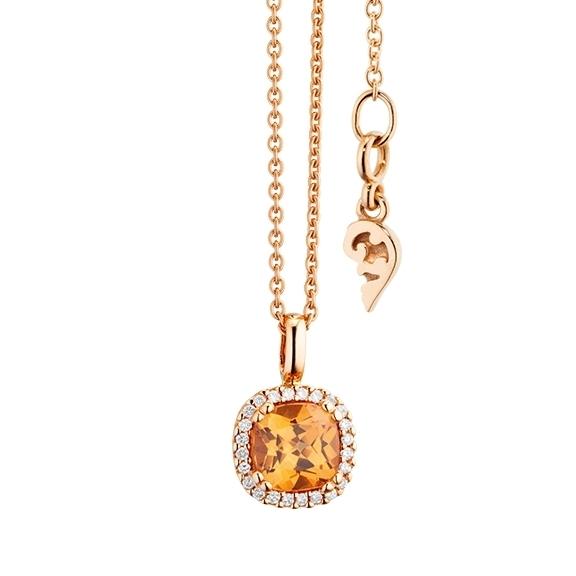 "Anhänger ""Espressivo"" 750RG, Granat Mandarin antik 6.0 x 6.0 mm ca. 1.2ct, 24 Diamanten Brillant-Schliff 0.07ct TW/si"