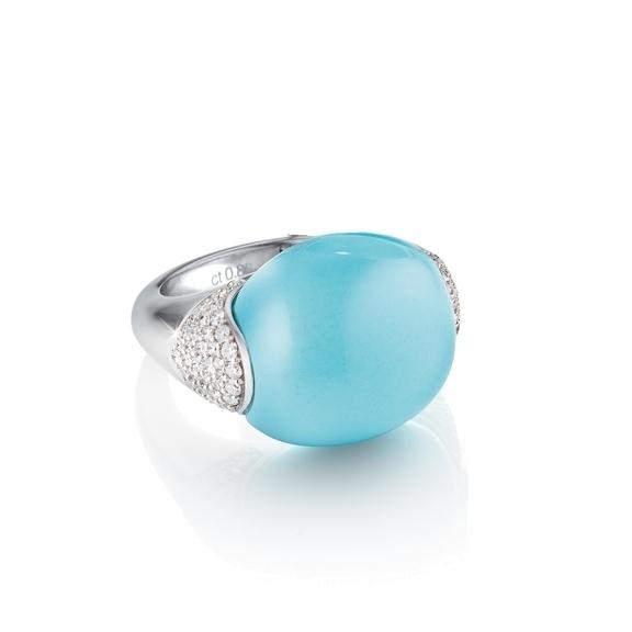 Ring ''Tramonto'' 750WG Chalcedon aqua ca. 24.00ct, Diamanten Brillant-Schliff 0.77ct TW/vs