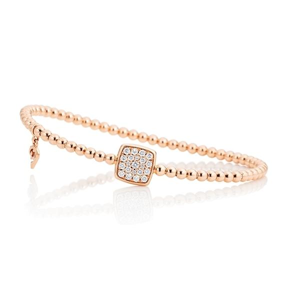"Armband ""Dolcini Quadrat"" 750RG, 21 Diamanten Brillant-Schliff 0.29ct TW/vs, Innenumfang 17.0 cm"