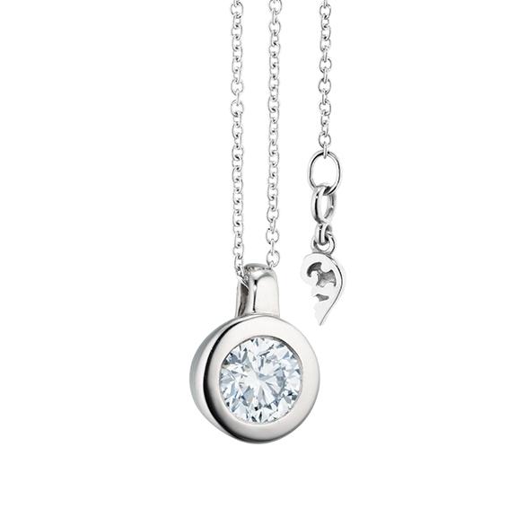 """Collier """"Diamante in Amore"""" 750WG Zargenfassung, Schlaufe, 1 Diamant Brillant-Schliff 0.60ct TW/vs1 GIA Zertifikat, Länge 45.0 cm, Zwischenöse bei 42.0 cm"""