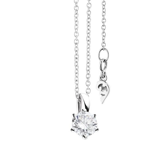 """Collier """"Diamante in Amore"""" 750WG 6-er Krappe, Schlaufe, 1 Diamant Brillant-Schliff 0.40ct TW/vs1, Länge 45.0 cm, Zwischenöse bei 42.0 cm"""
