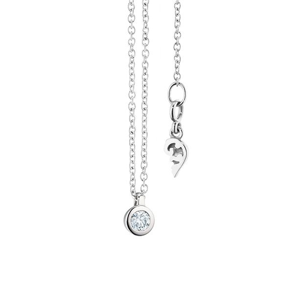 """Collier """"Diamante in Amore"""" 750WG Zargenfassung, Schlaufe, 1 Diamant Brillant-Schliff 0.05ct TW/vs1, Länge 45.0 cm, Zwischenöse bei 42.0 cm"""