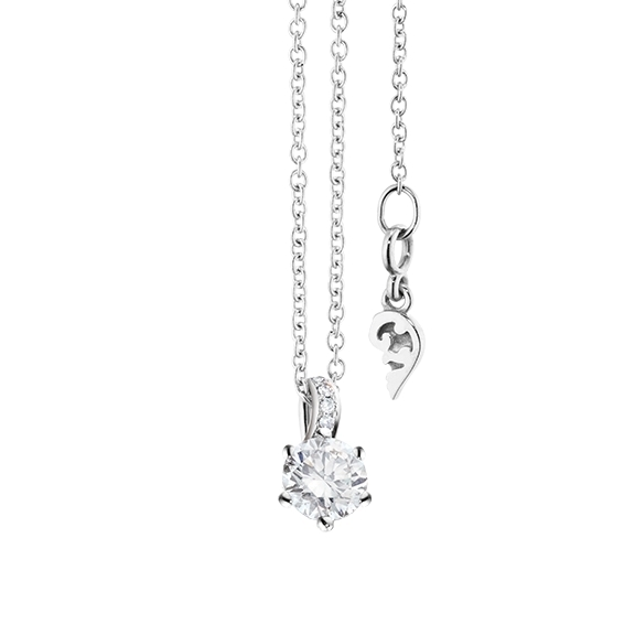 "Collier ""Diamante in Amore"" 750WG 6-er Krappe, Brillantschlaufe, 1 Diamant Brillant-Schliff 0.30ct TW/vs1, 5 Diamanten Brillant-Schliff 0.02ct TW/vs1, Länge 45.0 cm, Zwischenöse bei 42.0 cm"