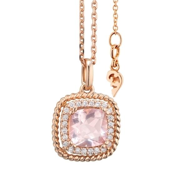 """Anhänger """"Amore mio"""" 750RG, Rosenquarz antik 6.0 x 6.0 mm ca. 1.00ct, 24 Diamanten Brillant-Schliff 0.10ct TW/si"""